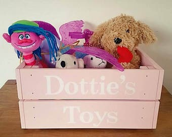 Wooden Crate, Toy Crate, Toy Storage, Book Box, Personalised Crate, Painted Crate, Personalised Toy Box, Storage Box, Stacking Crate,