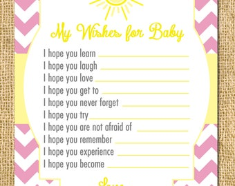 Instant Download! Printable Sunshine Wish Card - You Are My Sunshine DIY sun sunshine chevron cheery baby shower invitation wishes