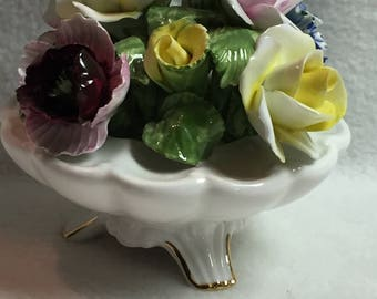 Porcelain flowers etsy radnor porcelain flowers in white scalloped bowl 053 mightylinksfo