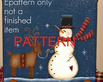 EPATTERN, #0002 Snowman and reindeer, snowman painting pattern, christmas painting pattern, decorative painting pattern, primitive pattern