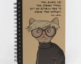 Cat Notebook Andy Warhol Quote, Spiral Bound Small Notebook
