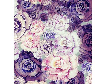 Peony art print by original watercolor illustration, fine art in pink, lilac, cream, violet painting 30x40cm (app. 11.8x15.8')