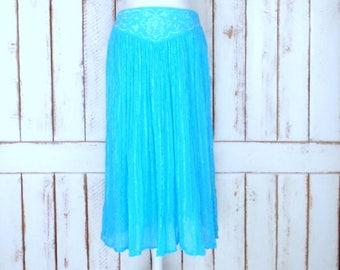 Vintage light turquoise blue embroidered crinkle cotton stretch waist maxi skirt/long Indian boho crinkle skirt/festival skirt/one size