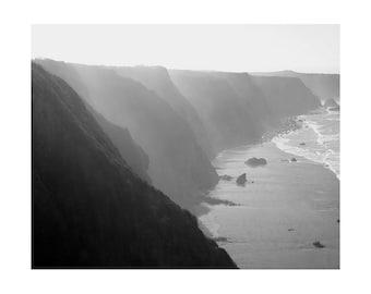 Big Sur Cliffs, California Coastline Black and White Photography Wall Art Prints, 8x10