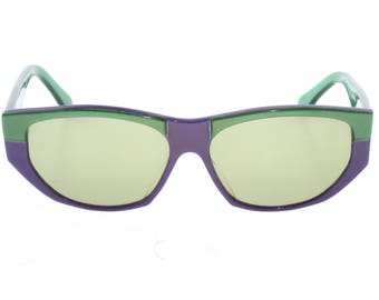 Fiorucci vintage cateye sunglasses by Metalflex violet and green cello 60s style, handmade in italy 1980s NOS