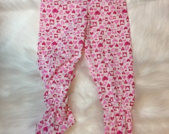 GIRL'S knit FOOTED PAJAMA pants, size 2T, footed pajama pants, toddler pajamas, Children's footed pajamas