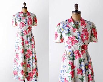 30's maxi dress. small. 1930 vintage dress. floral print. pink. 1930's wrap dress. robe.