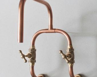 Loop - wall mount industrial handmade copper faucet