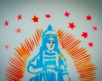 Googly Eyed Virgin Mary Fridge Art at El Cosmico in Marfa Texas Photo Print