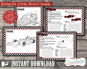 Racing Car Activity & Coloring Sheets/Placemats - INSTANT DOWNLOAD - Birthday Party Decorations, Decor, Grand Prix, Race Car, Formula One