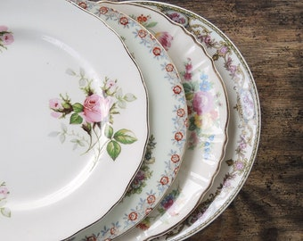 Mismatched Pink Floral Plates Set of 4 Dessert Plates Salad Plates for Wedding Tea Party Replacement China