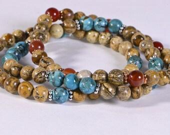 Heart Chakra Bracelet Jasper Turquoise Mix Bracelet Healing Bracelet Chakra Bracelet Gemstone Bracelet