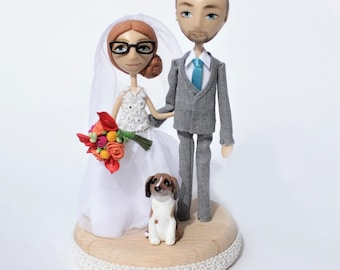 Rustic Wedding Cake Topper/ Figurine bride groom/ Polymer Clay Doll/  centerpiece custom Cake Topper/ Wedding  Dog/ puppy pets/