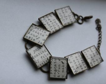 Adjustable Bracelet Epoxy Resin Handmade Bracelet Resin Jewelry Inspiration Bracelet Message Bracelet Word Bracelet Friend Bracelet