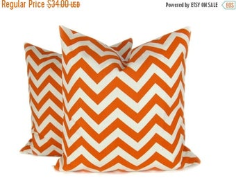 15% Off Sale Orange Pillow Cover Decorative Pillow, Set of TWO Orange chevron Pillow Chevron Pillow cover. 20x20 pillows printed fabric on f