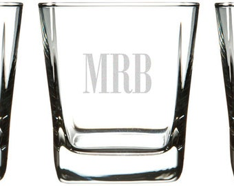 Personalized Large Double Old Fashioned Squared Rocks Glass (1 Glass), 12 oz.
