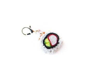Califprnia Roll Sushi Charm - Miniature Food Jewelry - Cali Sushi Roll Charm, Sushi Jewelry, Food Stitch Marker Progress Keeper