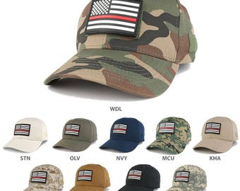 Thin Red Line USA Flag 3-D Rubber Tactical Patch Adjustable Structured Operator Cap (T90-USA-TRL-T75)
