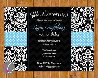 Surprise Birthday Party Invitation Damask Chevron Blue Black 21st 30th Milestone Adult Birthday 5x7 Digital JPG Printable (186-b)