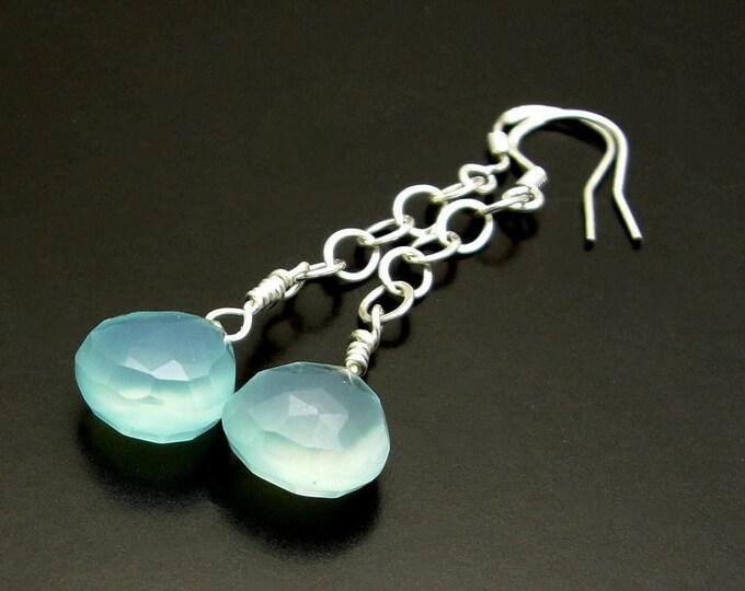 OLE BLUE EYES ~ Aqua Blue Chalcedony Sterling Silver Earrings