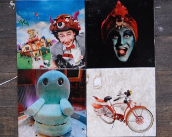 Pee Wee's Playhouse // Chairry // Jambi //Bicycle // Nerd // Stone Tile Coasters - Set of 4