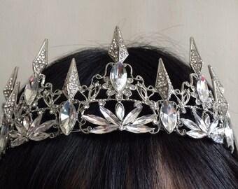 Sparkle Dia Victorian style wedding bridal jewelry crown headband Swarovski rhinestone crystals hair comb tiara
