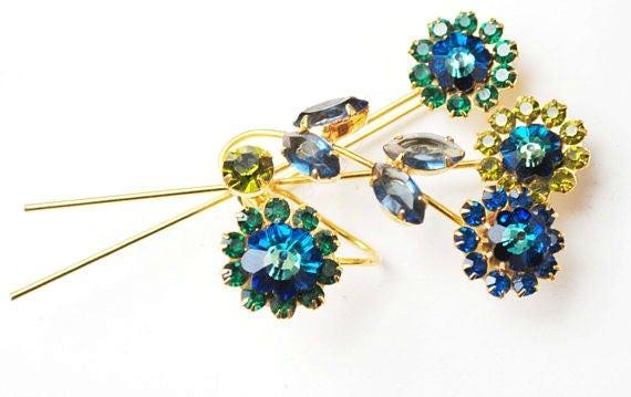 Blue Rhinestone Flower Brooch  Bluish  Green Crystal  Floral  Spray pin  Vintage rhinestone pin