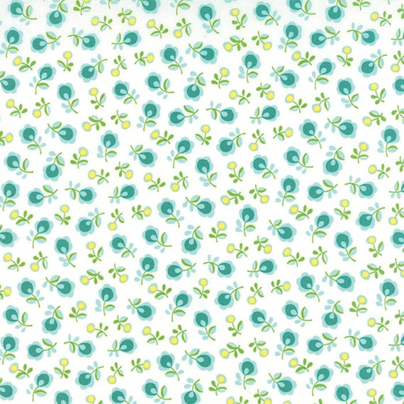Chloe's Closet Sew and Sew Collection From Moda Fabrics. Little Teal Blue Flowers on a White Background. 33185-17
