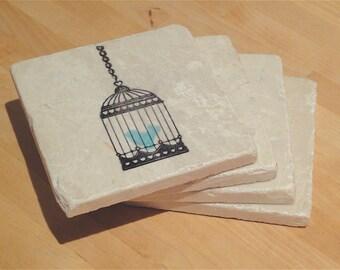 Singing Little Blue Bird Coaster Set - Set of 4