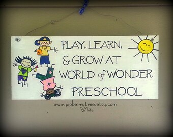 Personalized Preschool Teacher Play Learn and Grow Sign/Preschool Sign/Personalized Preschool Teacher Sign/Preschool Teacher Gift