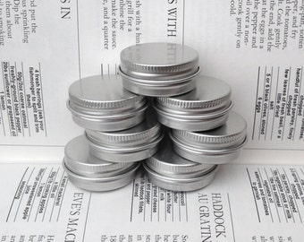 Small Metal Tins, Blank Round Silver Color, 15ml Screw Lidded (A Set Of 6 Boxes)