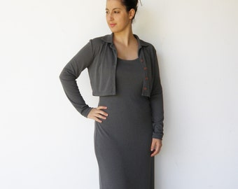 Vintage Gray Maxi Dress / 1990s Mouse Gray Slinky Dress and Bolero Set / Size M L