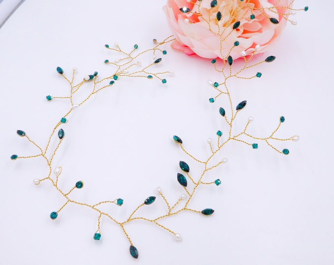 Custom colours, Swarovski Crystal bridal hair vine, leaf, clear, sapphire, gold, silver, rose gold, leaf hair garland, bride accessory.