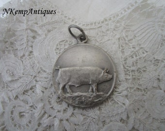 Old pig medal /pendant signed for the collector