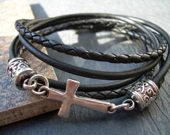 Leather Bracelet, Cross Bracelet, Mens Bracelets Leather, Womens Leather Bracelets, Cross, Religious Gift, Faith, Mens Jewelry,