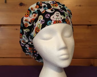 Women's adjustable bouffant surgical scrub hat.
