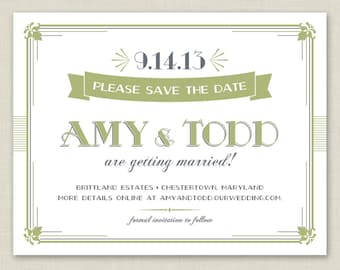 Printable Save the Date / Great Gatsby, Art Deco, Vintage Save the Date
