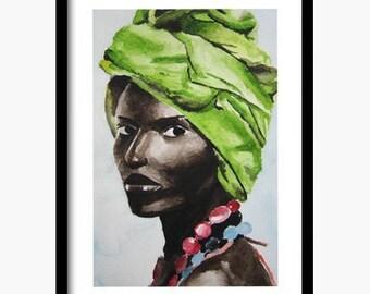 Original watercolor, Mother's Day, watercolor portrait, watercolor woman, woman painting, original painting, original drawing, scarf painting,