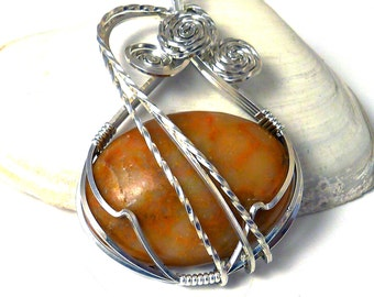 Marble and Sterling Silver Pendant