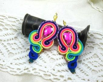 Soutache Earrings  ,soutache jewelry in ethnic, handmade earrings, Colorful Dangle Earrings