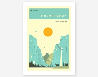 YOSEMITE NATIONAL PARK (Giclée Fine Art Print/Photo Print/Poster Print) 'Yosemite Valley' by Jazzberry Blue