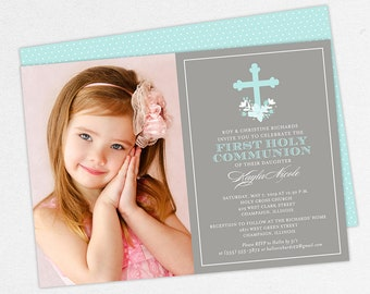 Blue Communion Invitations, Photo First Communion Invitations, Communion Invitations for Girls, Flower Communion Invitations, Printable, PDF
