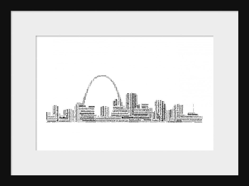 St. Louis Skyline Word Art Typography Print Poster