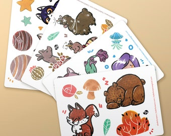Stickers Lhamas | Cats | Forest | Sea | Illustration Art Baks | Characters Nature Animals