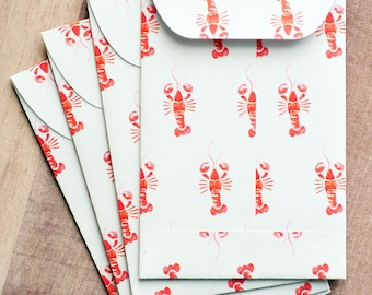 Lobster Mini Cards // Set of 10 // Blank Cards // Gift Card Holders // Enclosure Cards // Packaging // Love Notes