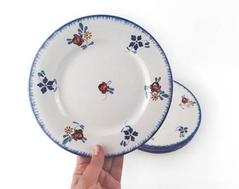 Mid Century Plates Mary Lou by French Digoin Sarreguemines with Blue Rim and Wildflowers Set of 6