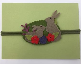 Bunnies With Flowers Headband