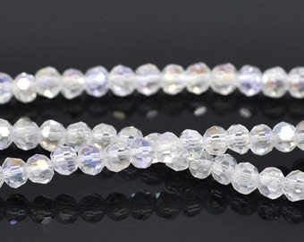 Faceted Clear AB Crystal Glass Rounds - 4MM