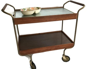 Mid Century Bar Cart with Warming Tray Salton Rolling Cart Retro Barware and Buffet Cart Vintage Home Decor LOCAL PICK UP