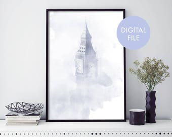 London Art, Big Ben Watercolour Print Wall Art   Print At Home   Digital Download File